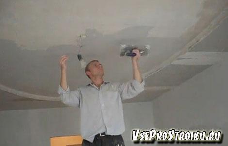 Как правильно шпаклевать потолок  под покраску