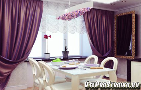 Фиолетовы шторы в дизйне кухни