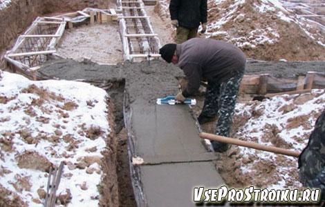 Как заливать фундамент зимой?