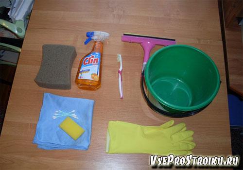 Моющие средства и инструменты для мытья окон