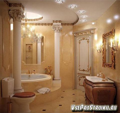 Интерьер ванной с колоннами