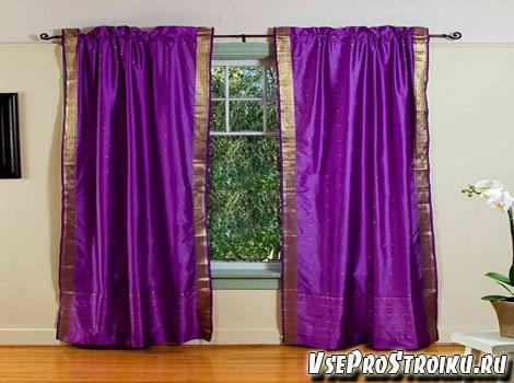 Гостиная сиреневые шторы