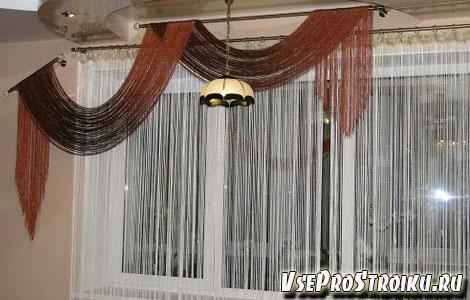 Веревочные шторы в гостиной